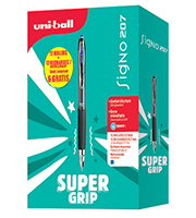 Roller Uniball Signo 207 - pack super grip 12 rollers + 12 recharges dont 6 gratuites